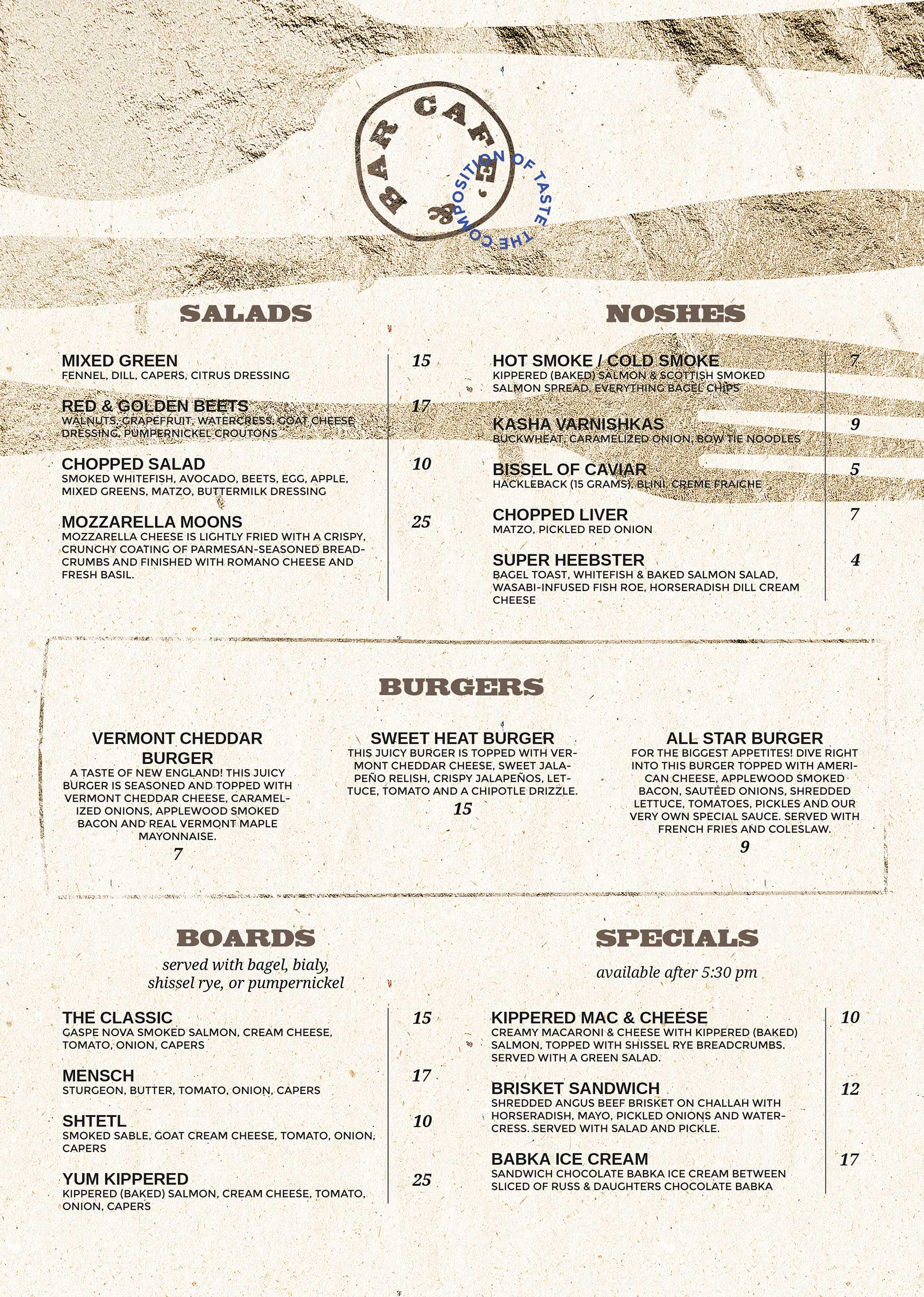 Menu Bar & Cafè interno