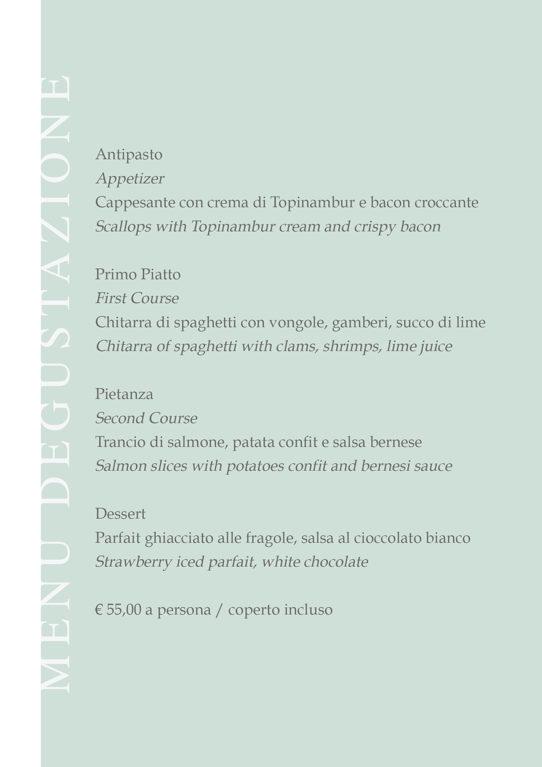Menu Acqua interno